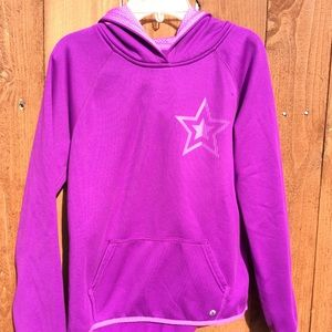 Xersion purple star active girl's hoodie pullover